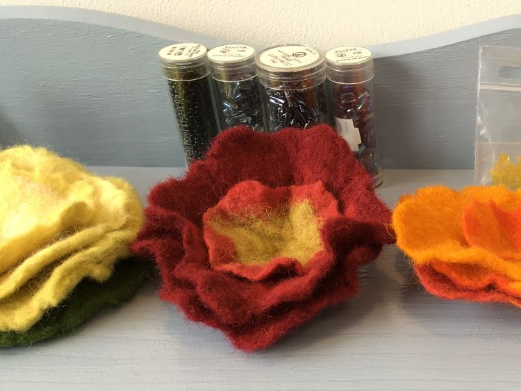 Felt flowers and beads