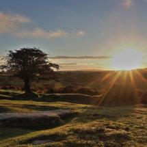 The sun rising over Dartmoor