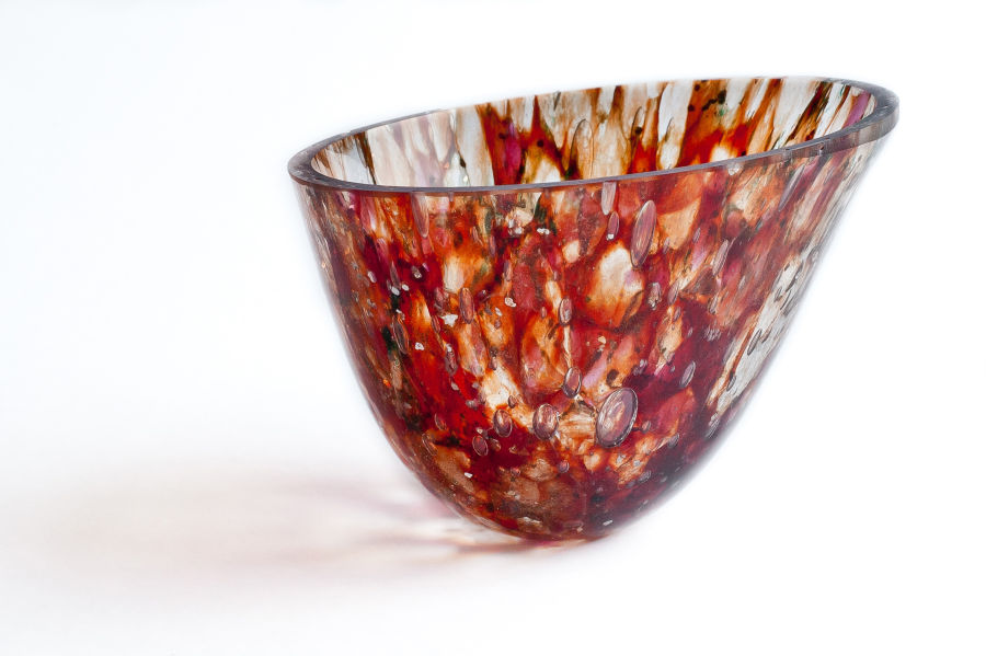 Blood Red Speckled , Thin walled ,gravity formed vessel(sold)