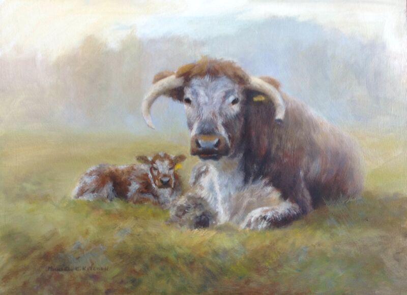 Longhorns, Mother & Calf