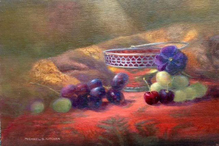 """The Silver Dish, 14"""" x 10"""", Oils"""