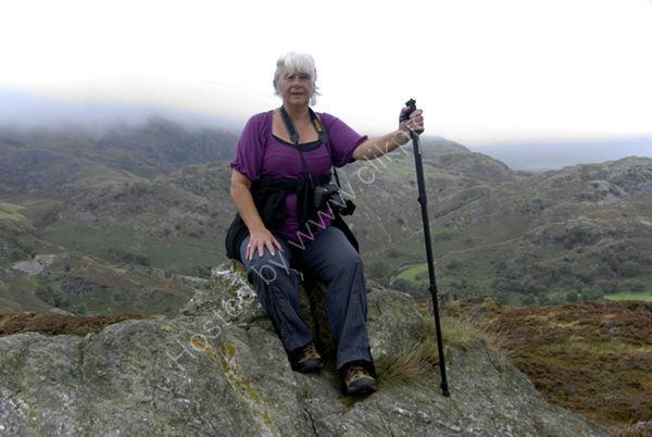 Liz at Summit of Holme Fell