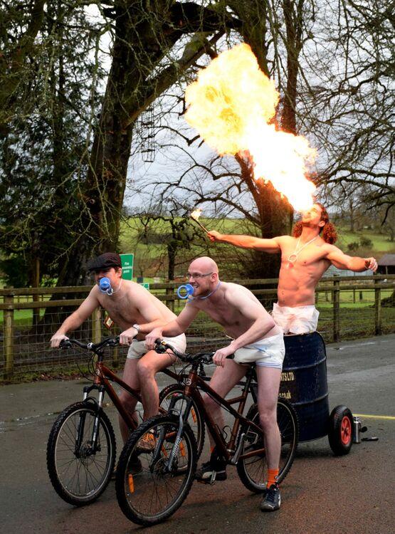 Bicycle Chariot racing, Llanwyrtd Wells.Powys