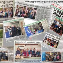 Composite image of a few Press cuttings photos.