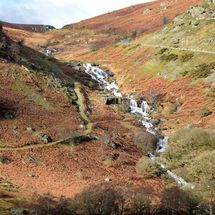 Water cascading down a hillside in Wales