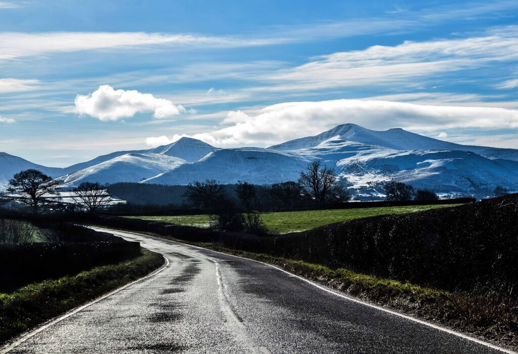 Brecon Beacons,Wales,UK with snow covering 2021