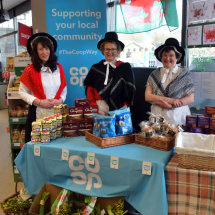 St.David`s Day event at Builth Wells coop store,Wales.