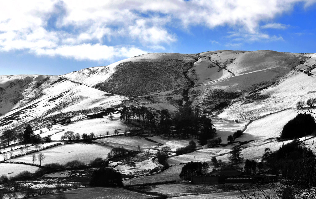 Snow covered hills in Wales