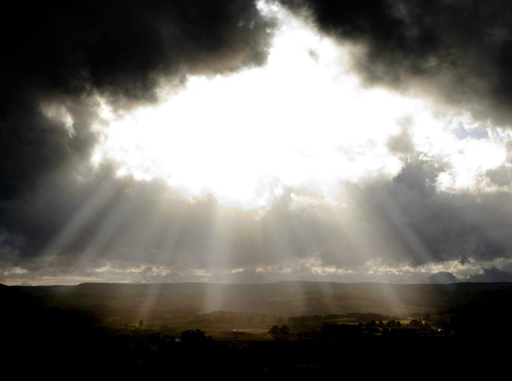 Dramatic  sky over Welsh landscape