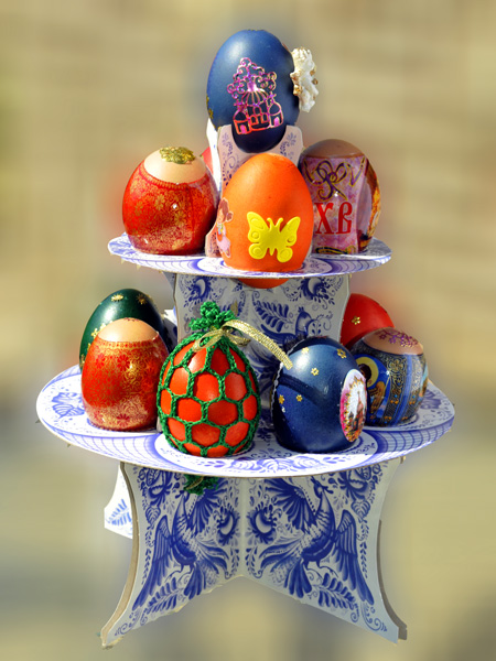 Traditional Russian Decorated Eggs for Easter.