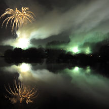 Celebration fireworks over river Wye, Builth Wells