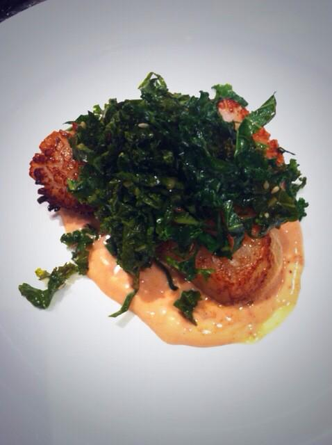 Scallops, pickled kale, chilli
