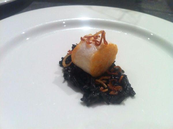 squid, black rice, onion