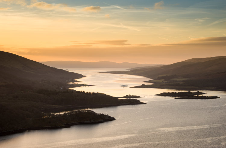 Sunrise over the Kyles of Bute.
