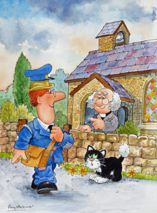 28. Rev Timms was surprised to see Postman Pat's clothes