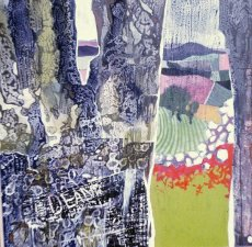 Landscape between trees
