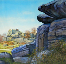 Brimham Rocks. Relaxing on a rock