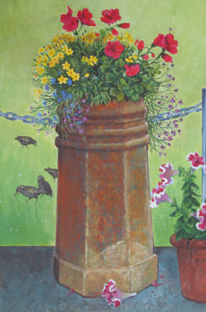 Flowering chimney pot
