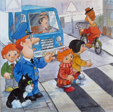 11. Postman Pat helps Sarah and Tom  cross the road