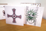 Durham Square Cards Pack of 4 - St. Cuthbert's Cross and Sanctuary Knocker