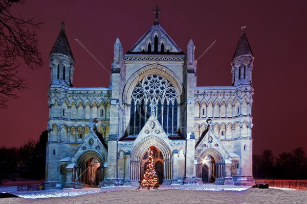 St Albans Abbey at Christmas