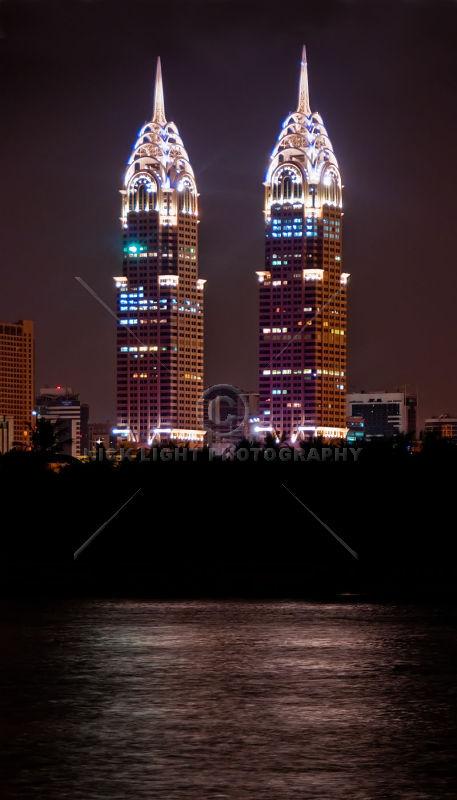 Al Kazim Towers at night