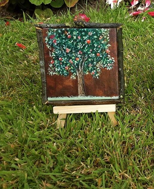 appletree 3x3inch little painting with rough apple frame on a little easle (sold)