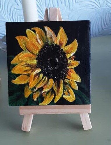sunflower mini canvas 3x3inch (sold)