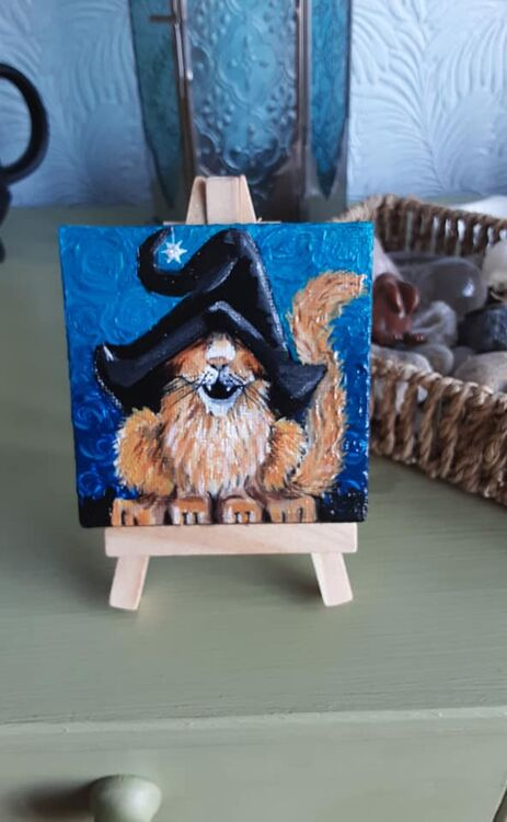 witch cat is that 3x3inch acrylic painting and stand £10 +£2 p&p