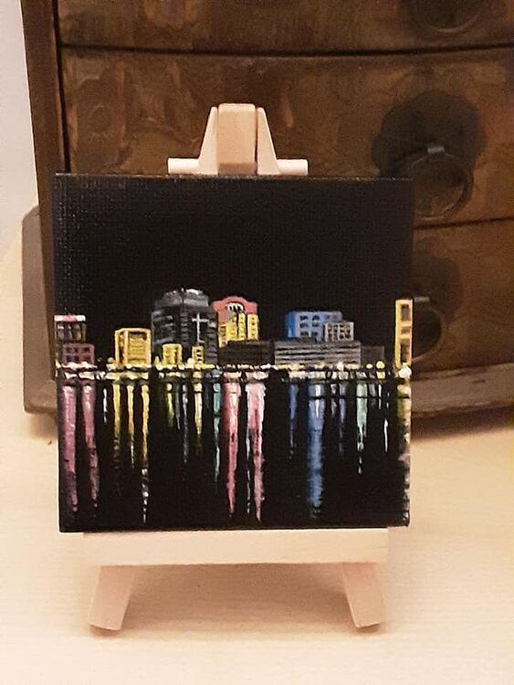 mini canvas acrylic 3x3inch 'night light' £10+£2 p&p
