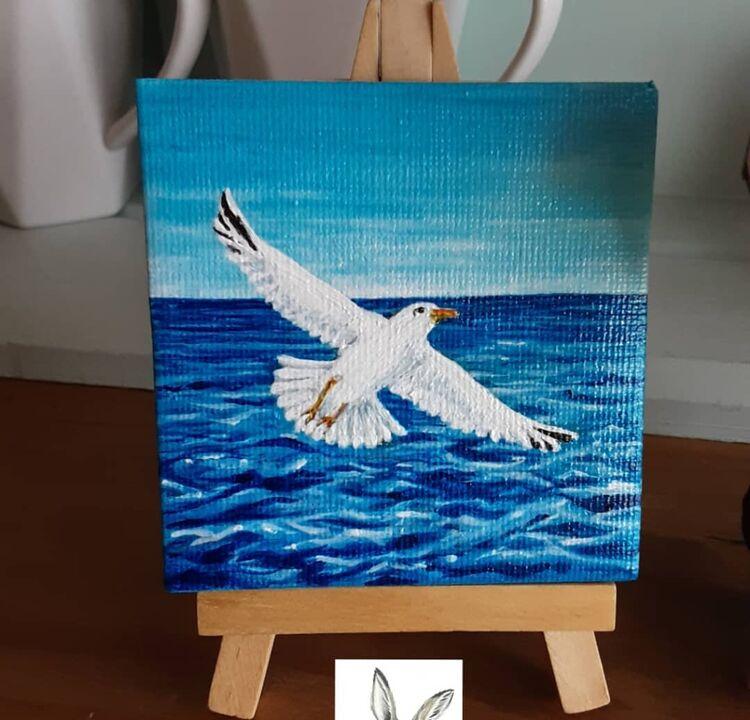 mini canvas acrylic 3x3inch 'seagull ' £10 +£2 p&p