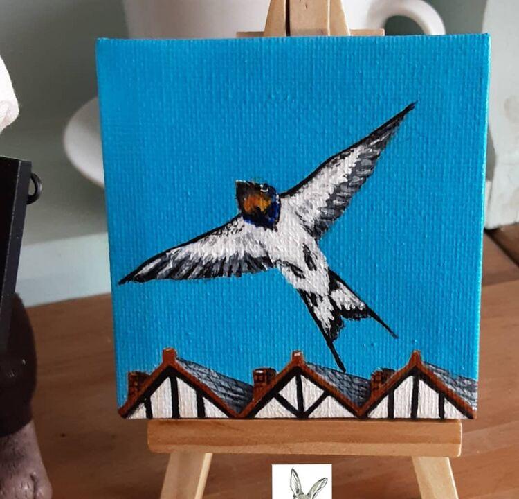 mini canvas acrylic 3x3inch 'swallow ' £10 +£2 p&p