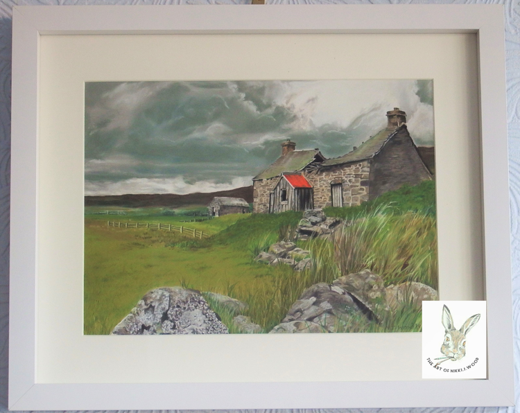 'the old farmhouse' approx 30x37cm framed pastel £100 p&p £2