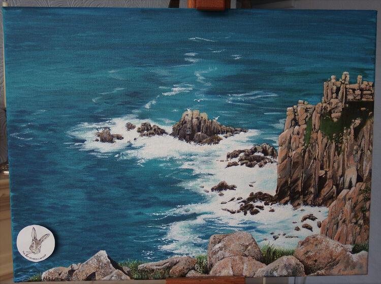 'Wash' lands end cornwall acryliic 30x45cm box canvas -see shop