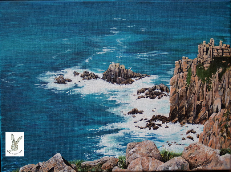 'Wash' lands end cornwall 30x45cm box canvas acrylic £80 p&p £2