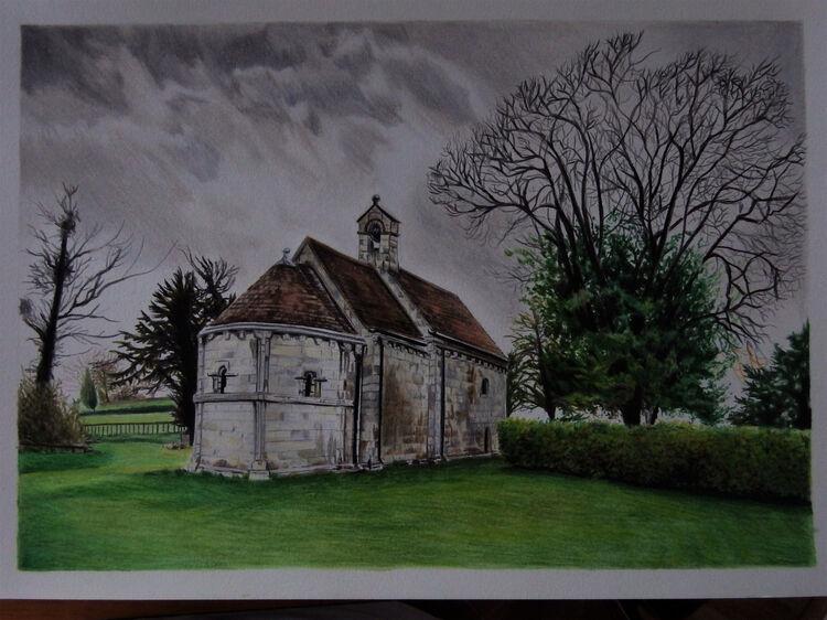 commission chapel ,coloured pencil a4