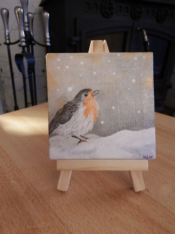 robin acrylic painting 3x3inch canvas and stand £10 &£2 post