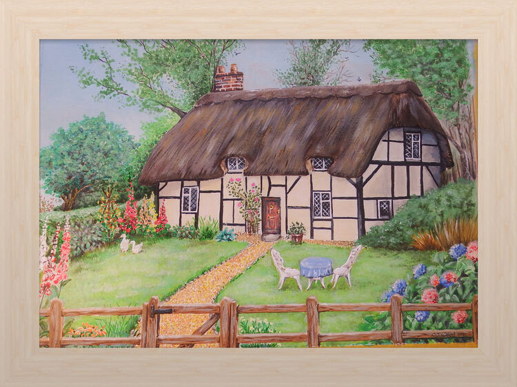 'clintons cottage' commission 9x12 inch acrylic imaginary place