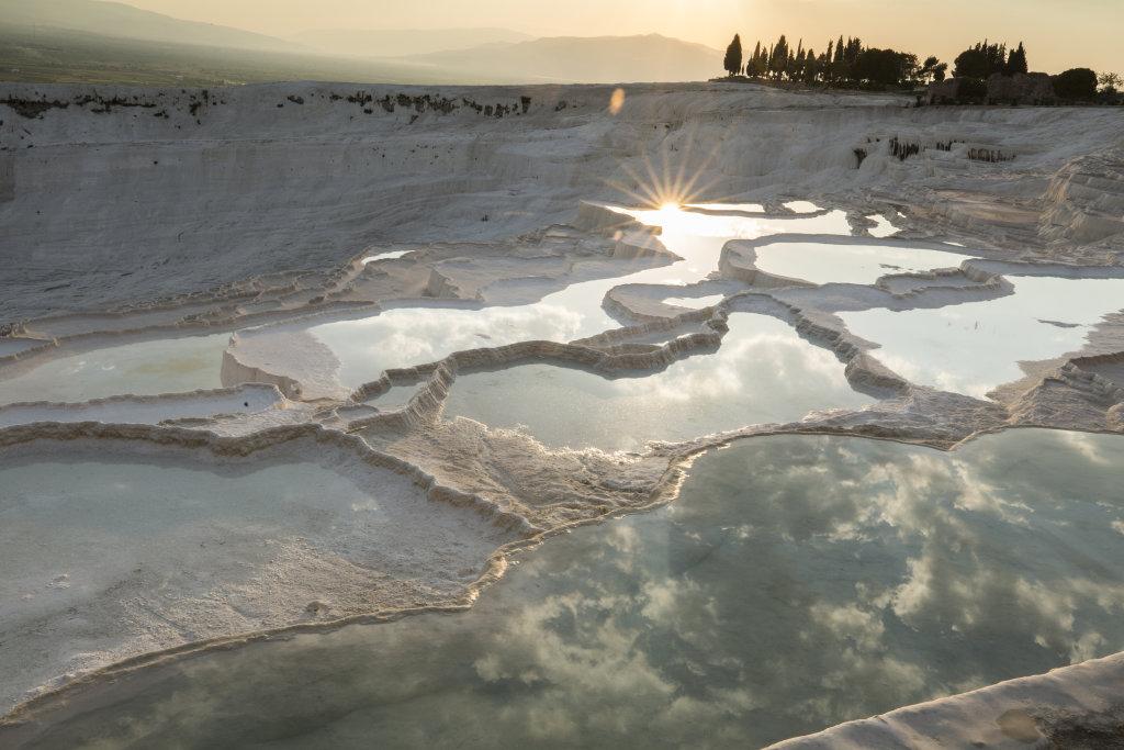 Thermal travertine terraces, Turkey
