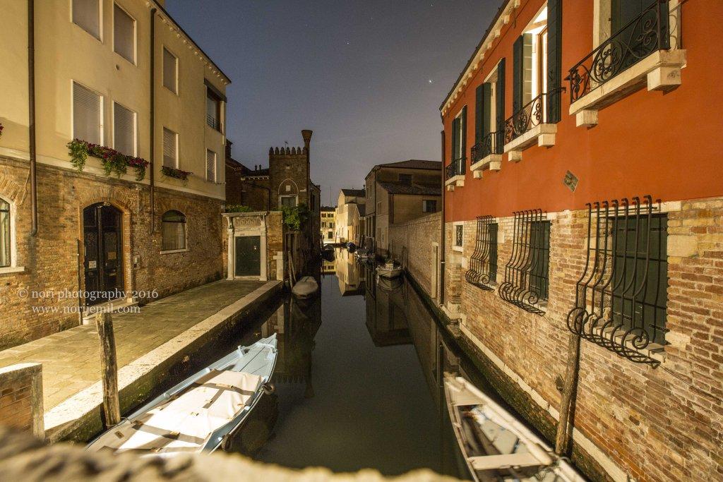 Narrow Canal at Night