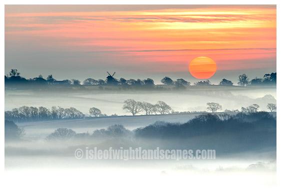 Bembridge Windmill misty morning