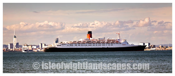 QE2 off Portsmouth