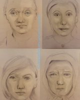 4 portraits life drawn during demo