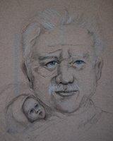 grandfather with grandchild, pre drawn for the demo