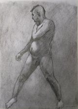 Standing Male Model.    Charcoal and graphite