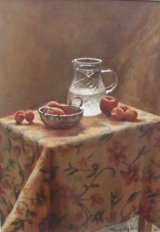 Water Jug and Fruit.  Acrylic.  SOLD