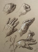 Hand Studies 4.   Black rollerball pen and white chalk
