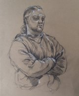Chris the Artist.    Graphite and white chalk