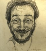 Smiling Self- Portrait Aged 24.     Conte