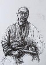 Sketching self portrait.    Black rollerball pen line drawing